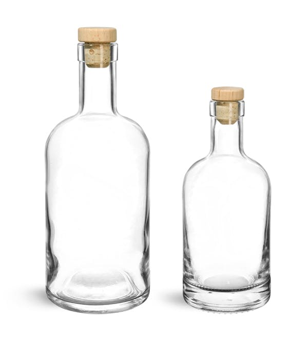 Glass Bottles Clear Glass Bar Top Bottles W Round Wood