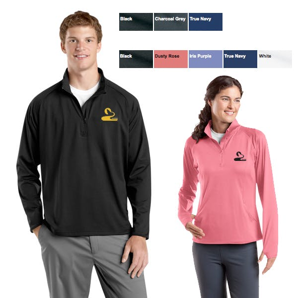 Men/Ladies Sport-Wick Stretch 1/2 Zip Pullover Promotional shirt sold by MicrobrewMarketing.com