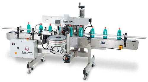Low speed automatic front and back pressure sensitive labeler.  Labeling machine sold by BPM SYSTEMS