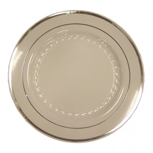 "10"" White Disposable Plastic Plate w/ Silver Rim"
