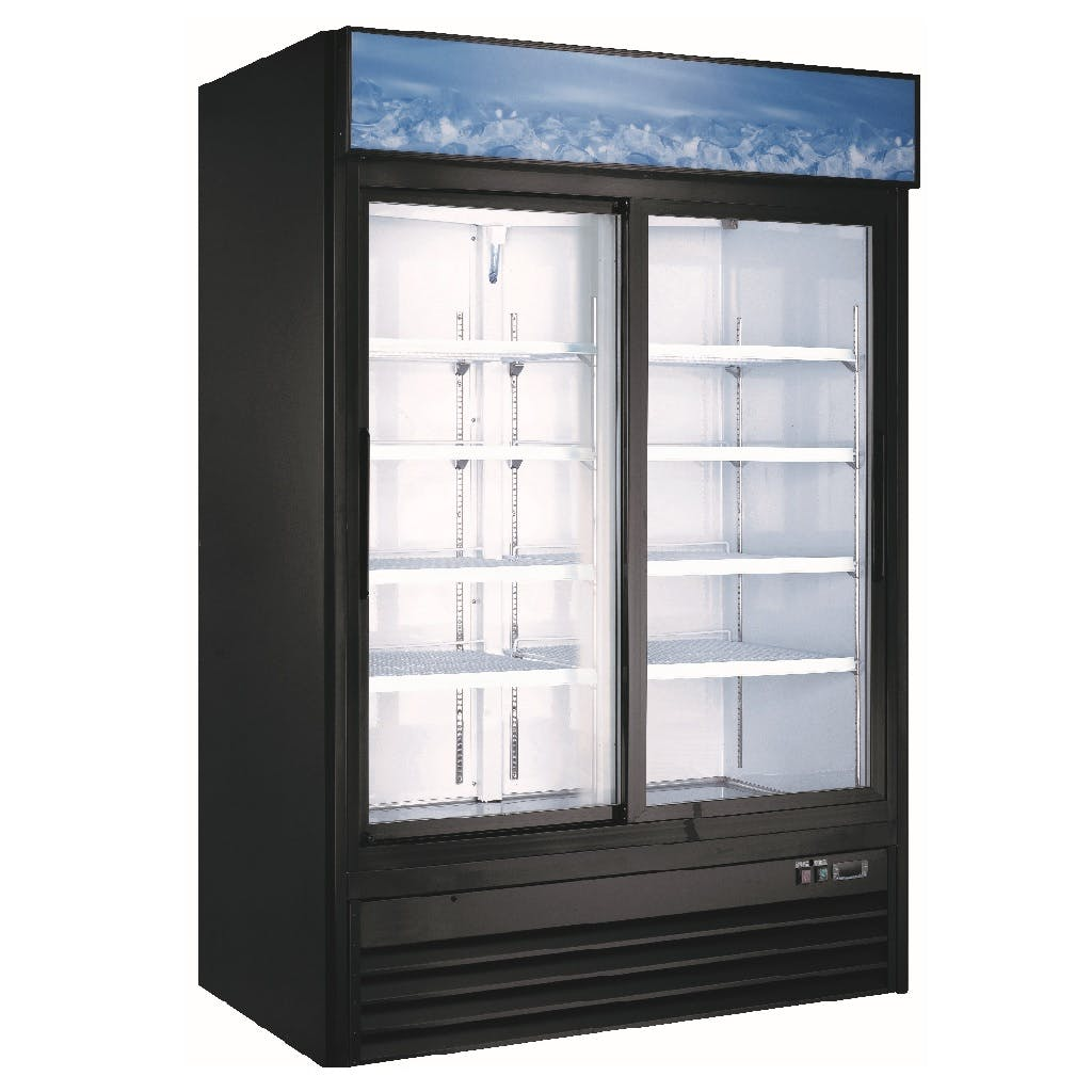 Sliding Double Door Display Cooler Commercial refrigerator sold by Iron Mountain Refrigeration & Equipment
