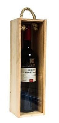 One Bottle Wood Gift Box With Handle & Clear Lid Wine box sold by SpiritedShipper