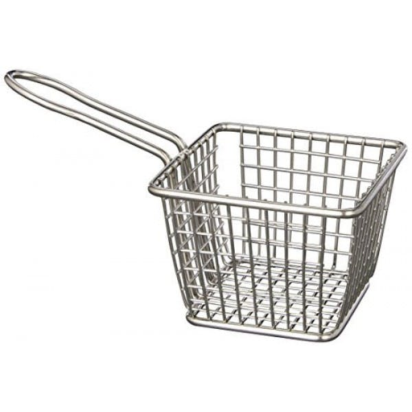 "4"" Square Stainless Mini Fry Basket"