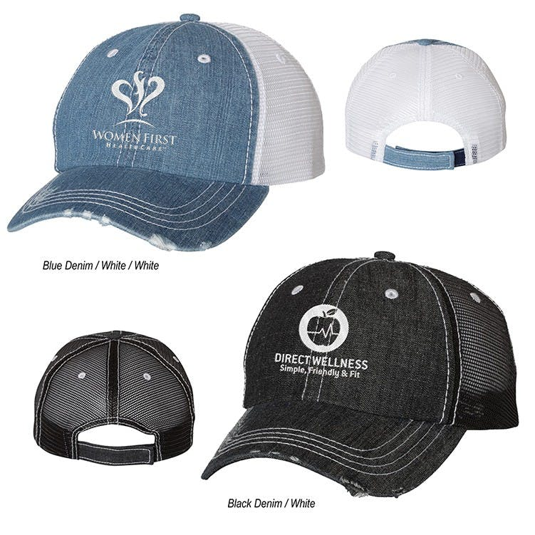 66e336ef77c ... Mega Cap Herringbone Unstructured Contrast Stitch Trucker Cap. focused  product. Sold by Perfect Promotions logo