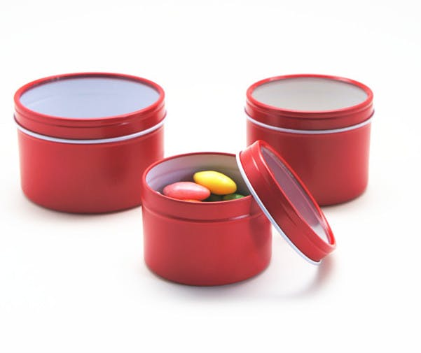 Deep Rust Proof Window Lid Tin Can - Red Metal tins sold by Mimi Pack