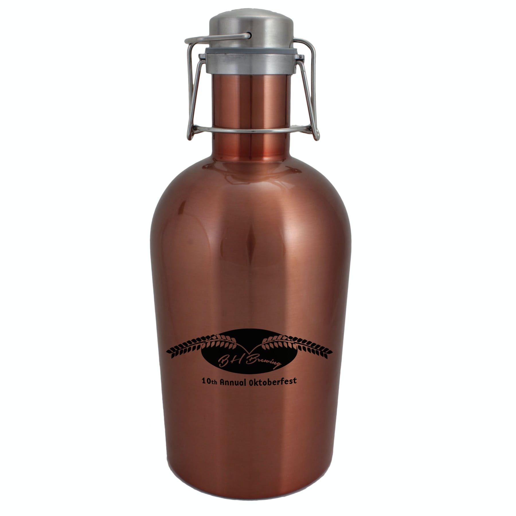 64 Oz. Copper Stainless Steel Growler (Item # RGIOP-JYNBC) Growler sold by InkEasy