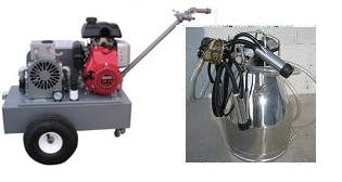 Gas Engine Model milking machine for COWS with 1 (7.5 gal) stainless bucket assembly Milking machine sold by Simple Milking Equipment