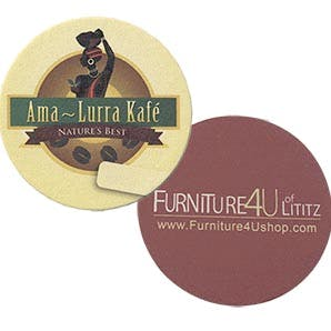 "80 PT x 3.5"" Diameter Round Pulp Board Coaster with Four Color Process Print Drink coaster sold by Kodaroo Creations LLC"