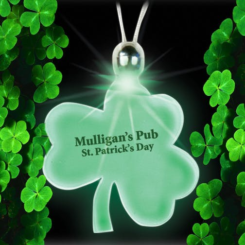 Lucky Charm Light-Up Shamrock with Clasp Promotional product sold by MicrobrewMarketing.com