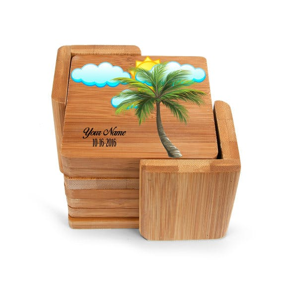 Square Wood Bamboo Coaster Drink coaster sold by CLWstudio