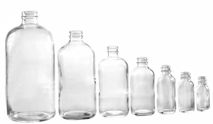 Boston Round Glass bottle sold by APAK Packaging Group