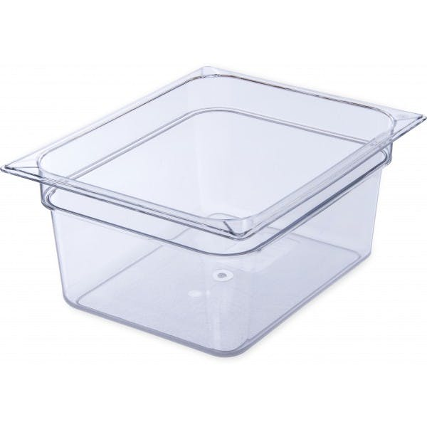 "6"" Half Size Clear Plastic Food Pan"