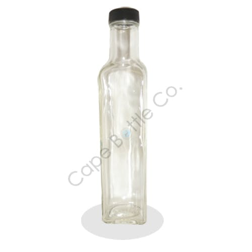250ml. Glass square marasca bottle Glass bottle sold by Cape Bottle Company, Inc.