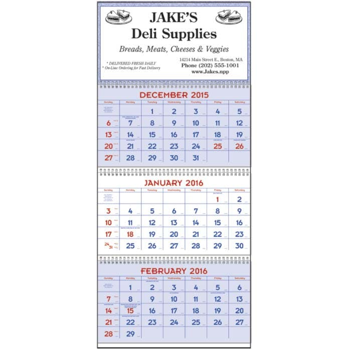 Norwood Promotional Products :: Product :: Red & Blue Commercial Planner Custom calendar sold by Distrimatics, USA
