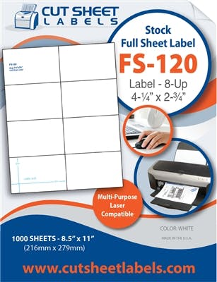 FS-120 Label adhesive sold by Cut Sheet Labels