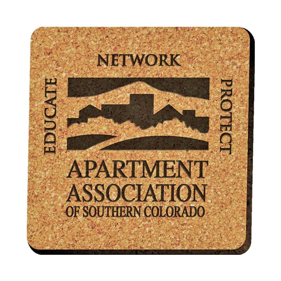"Laser Engraved Square Cork Coasters (3 3/4""x 3 3/4"") Drink coaster sold by Ink Splash Promos™, LLC"