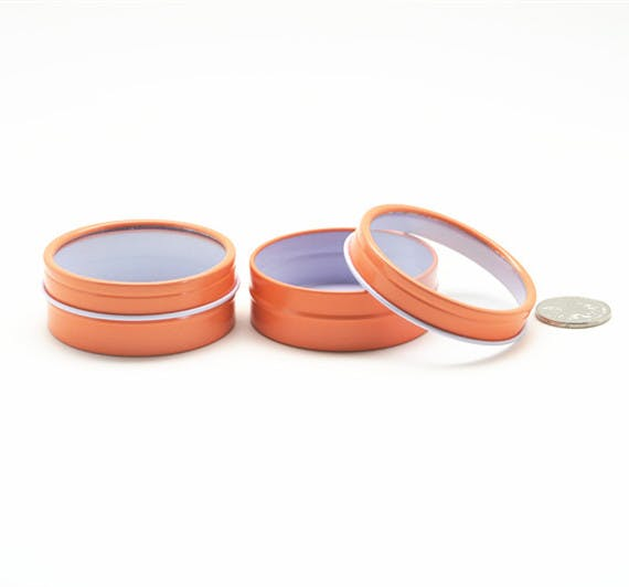 Shallow Seamless Window Tin Cans - Orange Metal tins sold by Mimi Pack