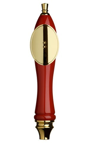 Red Pub Tap Handle with Gold Oval Shield Tap handle sold by Taphandles LLC