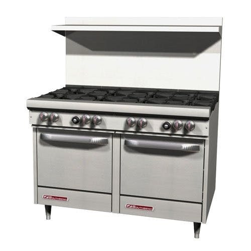 Southbend Range S48EE Commercial Range, 48 Inch, 8 Burners, 2 Ovens, Gas Commercial range sold by Mission Restaurant Supply