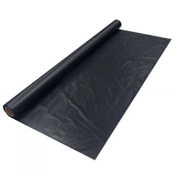 "40"" x 100' Black Disposable Plastic Table Cover Roll"