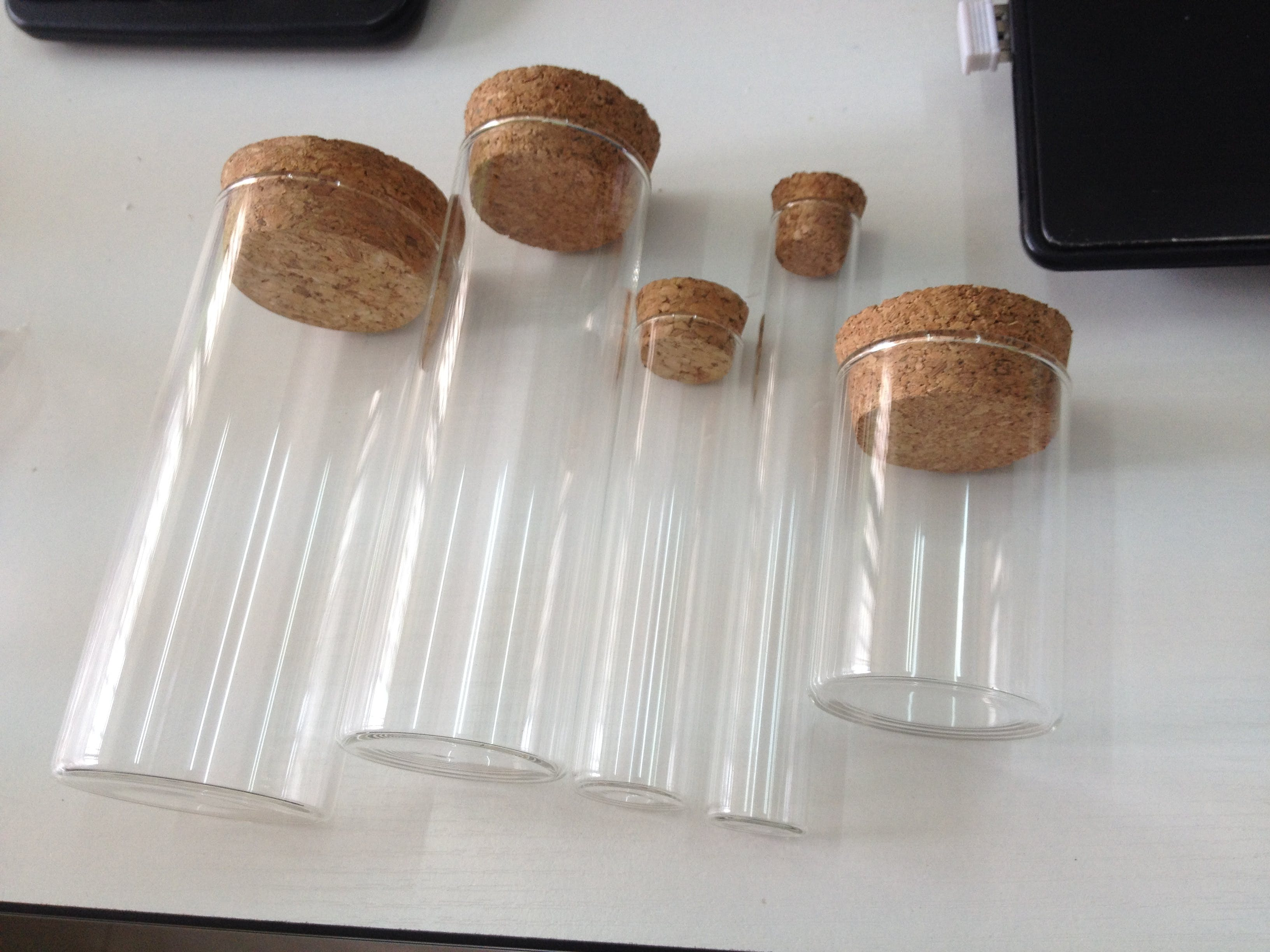 borosilicate glass jars and glass tubes with cork lids Glass Jar sold by Luscan Group