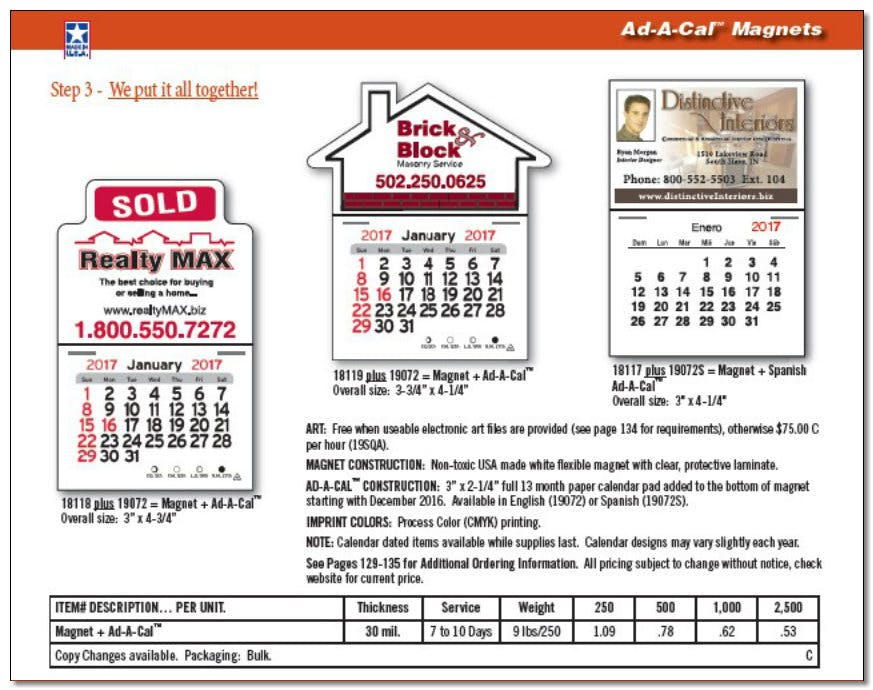 Ad a Cal Magnetic Calendars - Custom Calendars - sold by Worldwide Ticket and Label