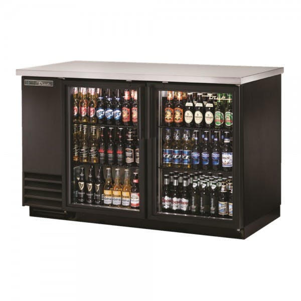"59"" Two Glass Door Black Back Bar Cooler"