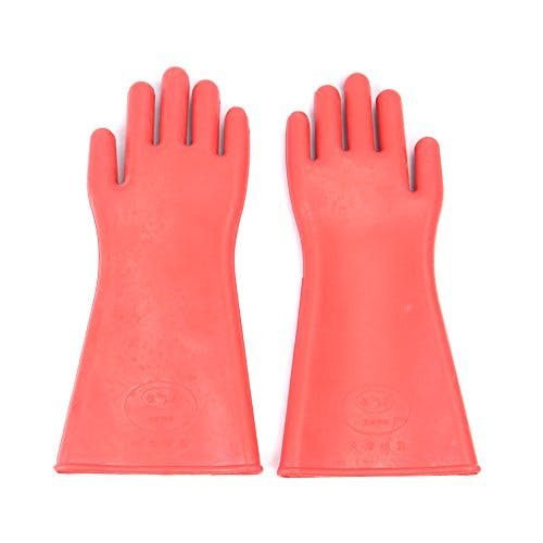 DmsBang 2Pcs Newest in the market Safe Product Red 12KV Insulating Gloves Rubber Safety Electrical Protective Gloves Kit Personal Working Equipment Hand Arm Protection Home Tool Set - sold by Meilestone