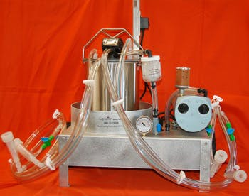 Dual Milker with 3 Gal Pail Milking machine sold by Capralite Milking Machines