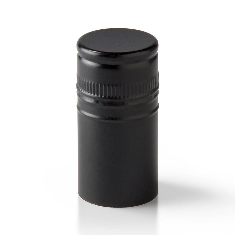 Matte Black Stelvin Closure with Tin Liner Bottle capsule sold by Packaging Options Direct