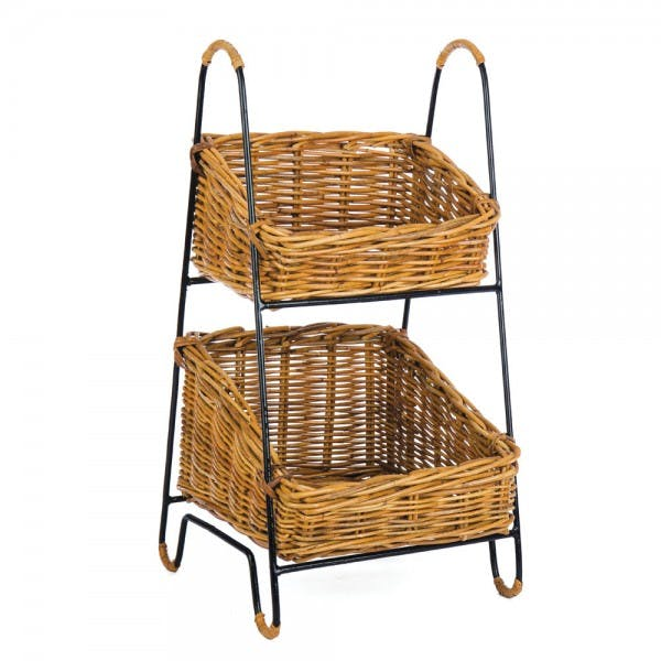 2-Tier Rattan Basket Wire Display Stand