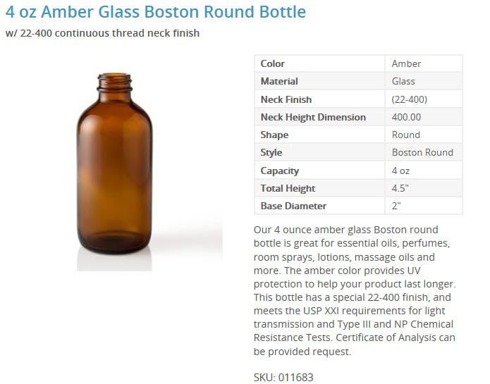 4 oz Amber Glass Boston Round Bottle Glass bottle sold by Packaging Options Direct