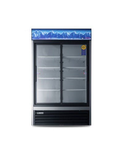 Everest EMGR33 Dual Sliding Door Refrigerated Merchandiser