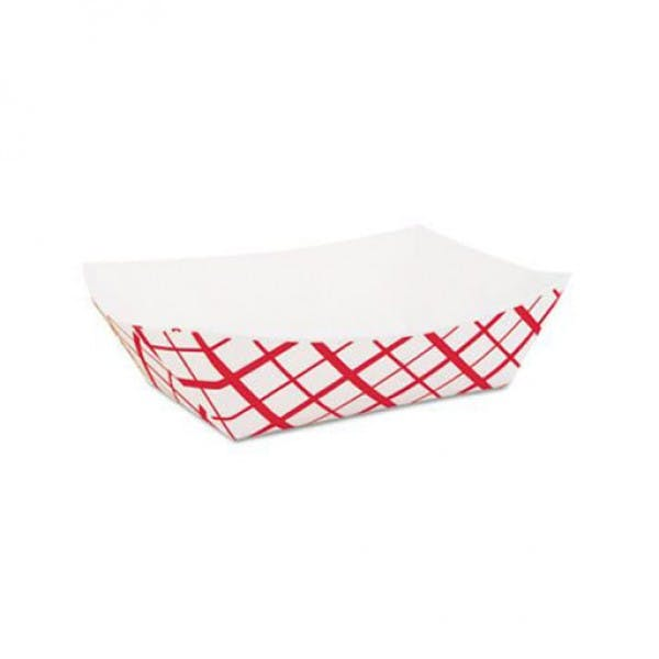 No. 200 Red Plaid Disposable Paper Food Trays