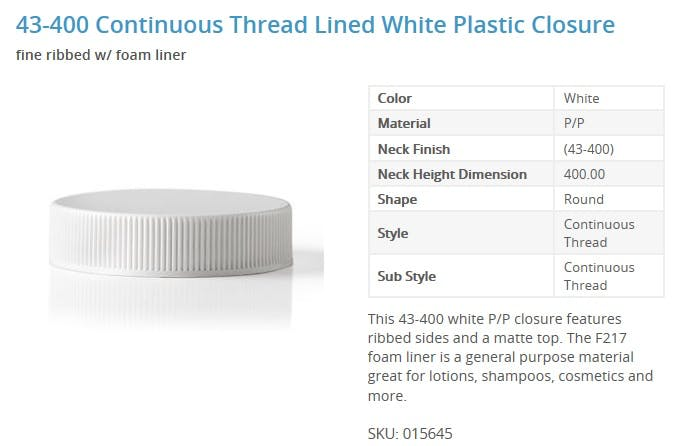 43-400 Continuous Thread Lined White Plastic Closure Glass bottle sold by Packaging Options Direct