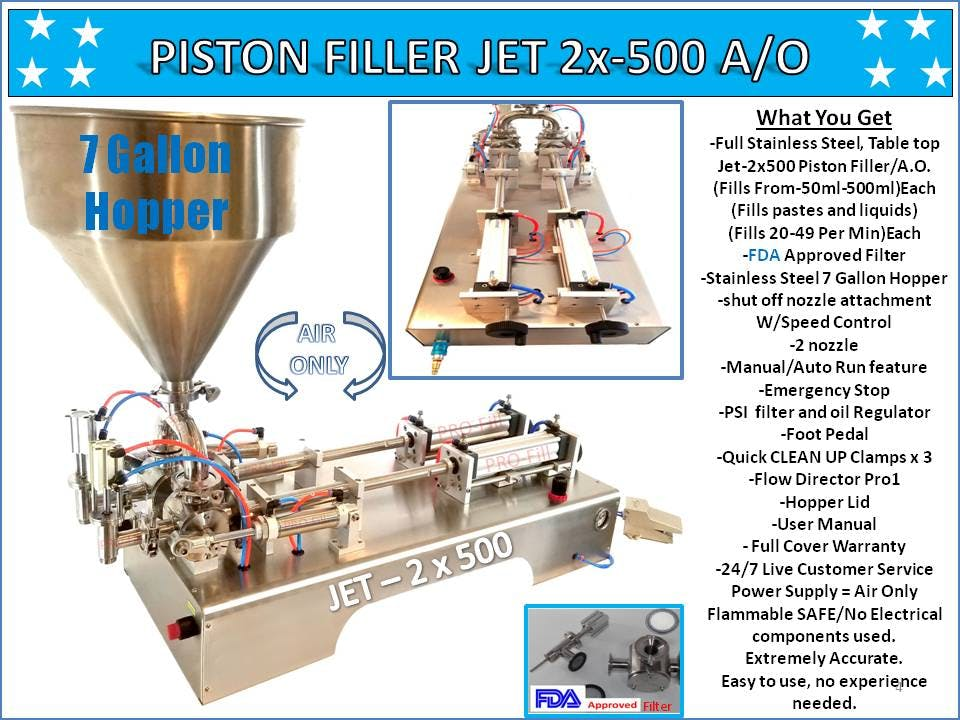 PISTON FILLER JET 2x-500 A/O Filling machine sold by Pro Fill Equipment