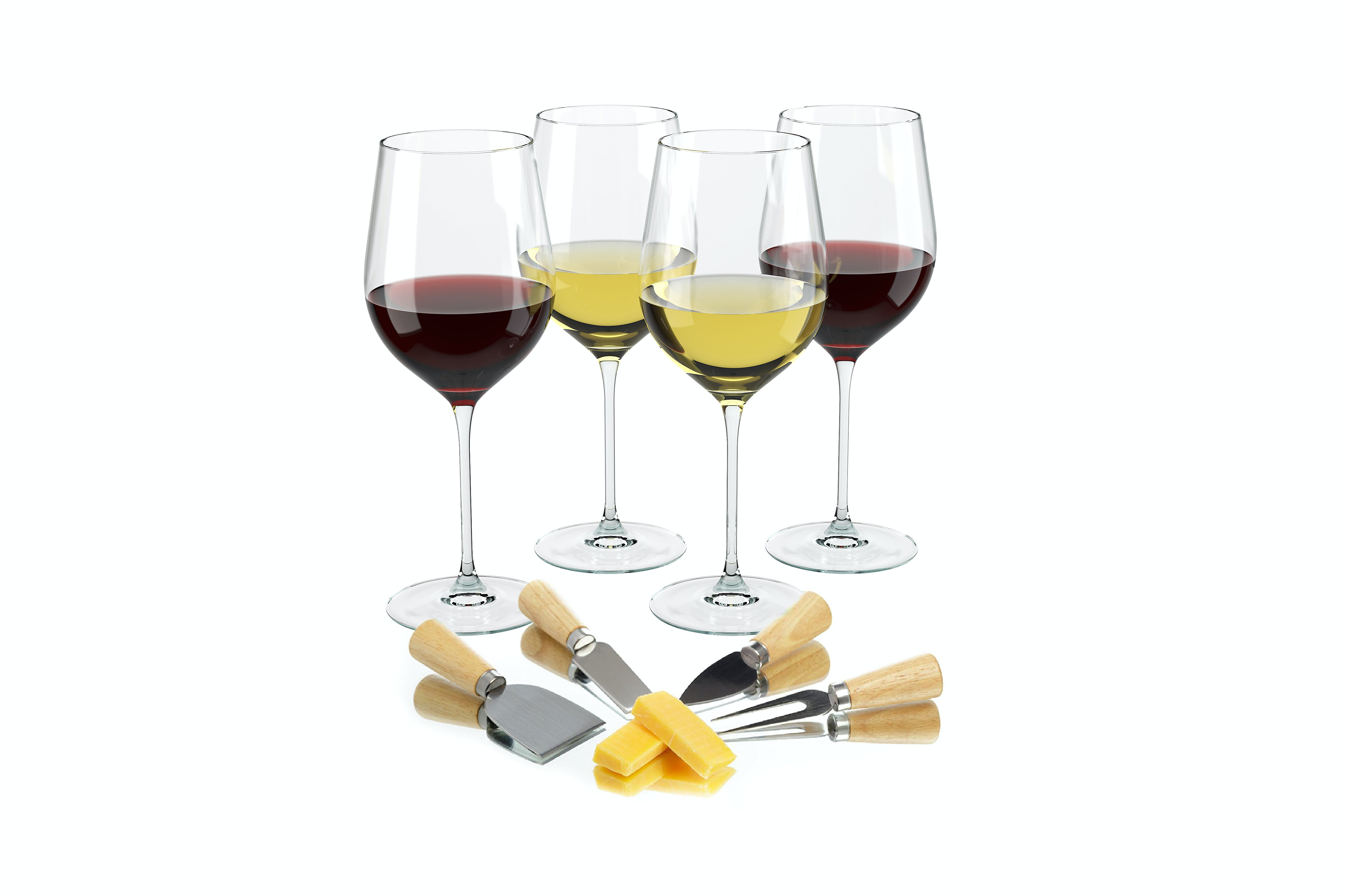 Wine Science Set of 4 Wide Mouth Glasses with 4 Cheese Knives - Mouth Blown Premium Crystal Glassware 19 oz Wine glass sold by Advanced Mixology