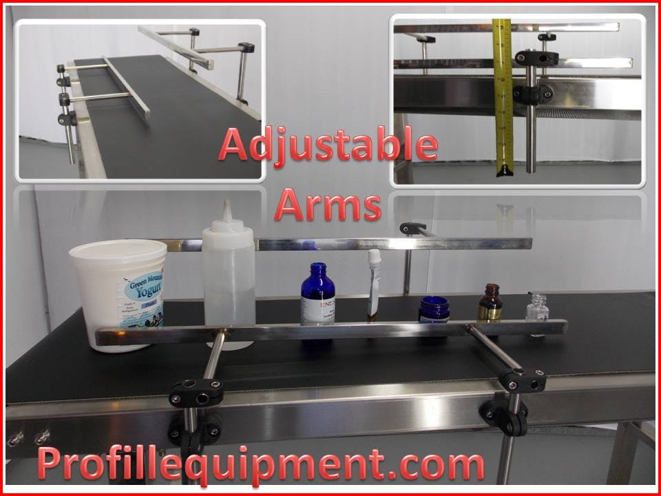 Adjustable Arms - Conveyor SSCFR-58, Stainless Steel Industrial , Food Grade Belt - sold by Pro Fill Equipment