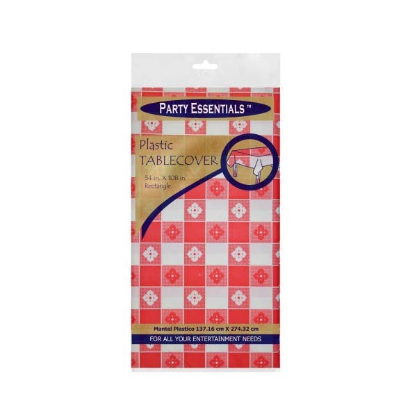 "54"" x 108"" Red Gingham Disposable Plastic Table Cover"
