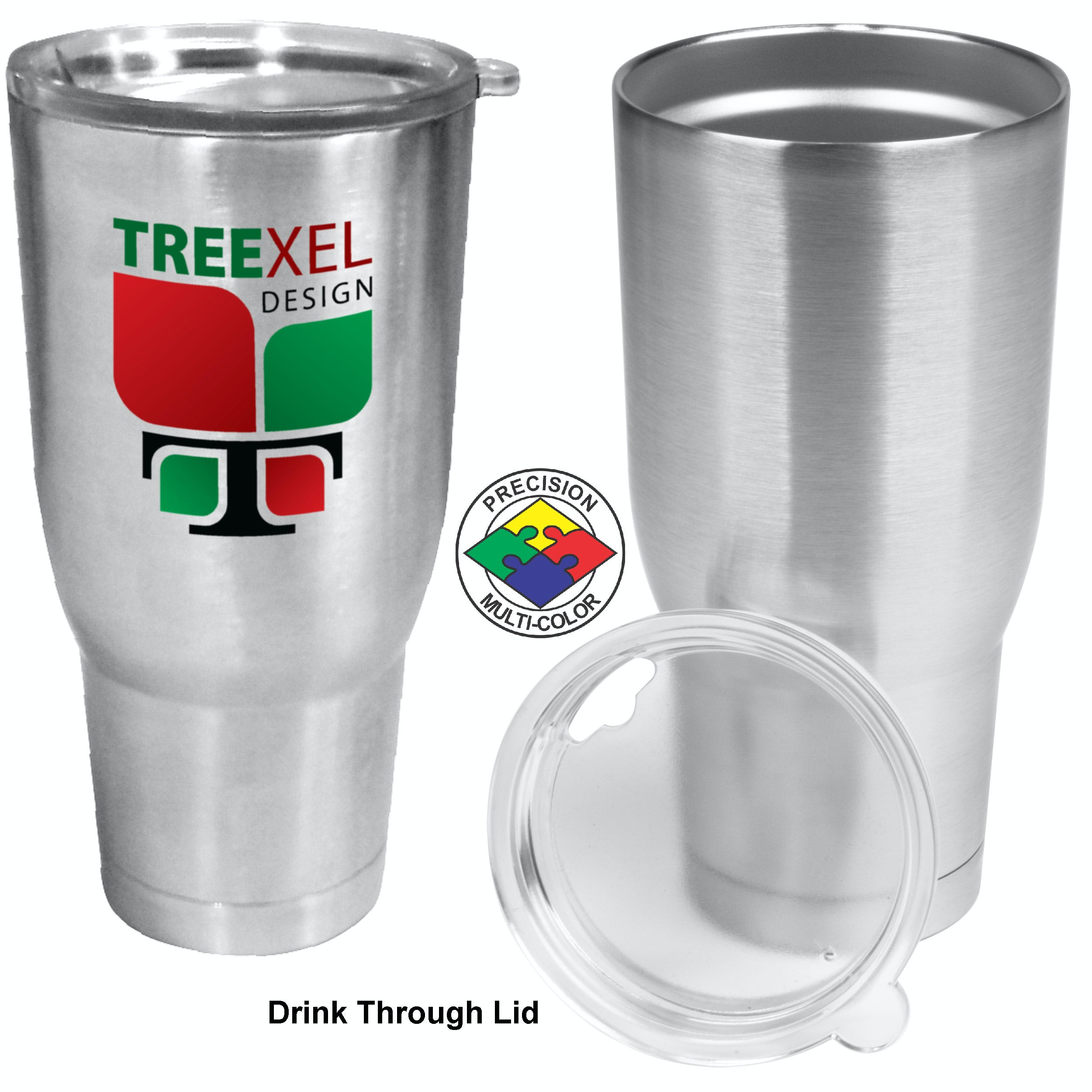32oz Brushed Stainless Steel Double Wall Vacuum Tumbler with lid. Stainless steel mug sold by PyroGraphics
