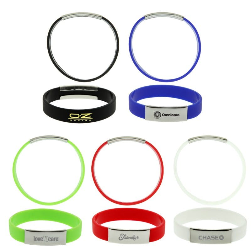 Wrist Band with Silver Name Plate (Item # UAIOS-JWOTN) Promotional wristband sold by InkEasy