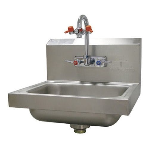 Advance Tabco 7-PS-55 Eye Wash Hand Sink, Wall Model, 14 x 10 x 5 Deep Bowl, Splash Mounted Gooseneck Faucet Sink sold by Mission Restaurant Supply