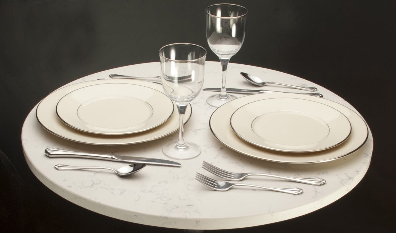 Carrera White Quartz Table top sold by Cafe Tables