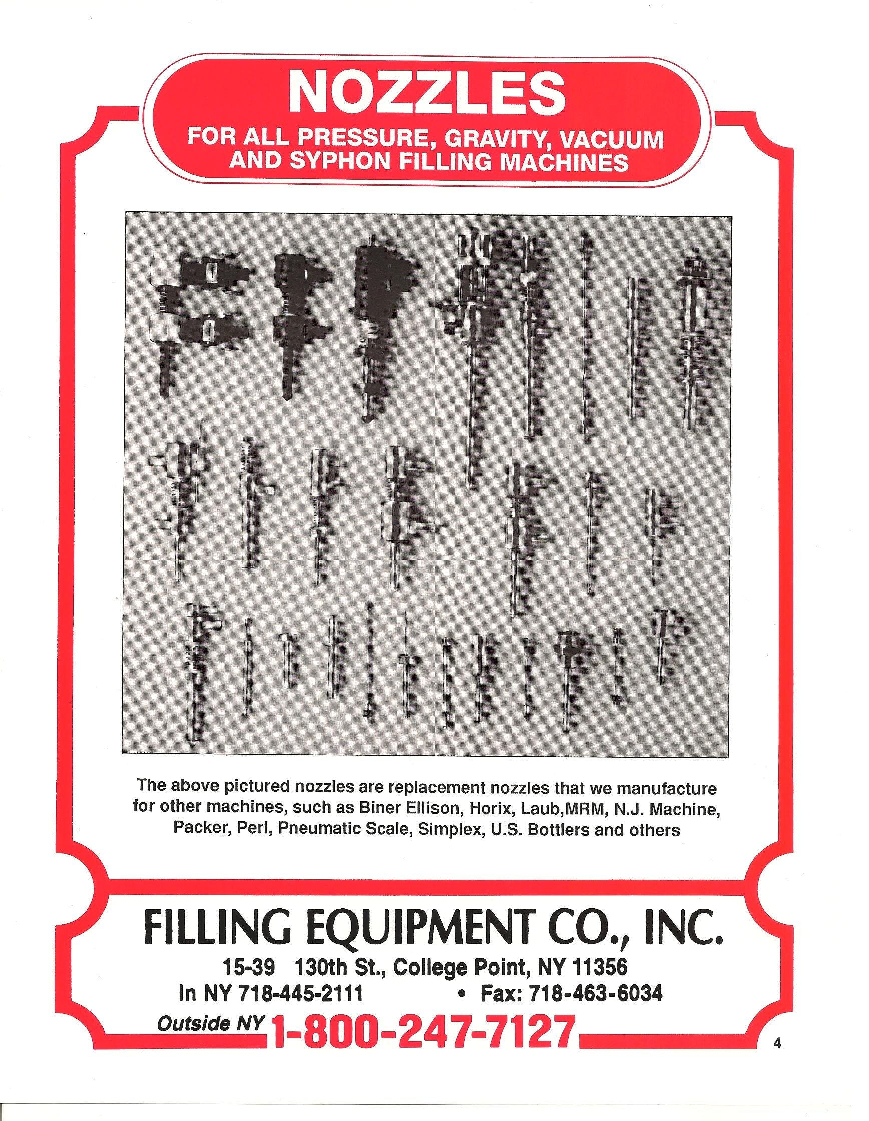 Liquid filling nozzles Packaging equipment sold by Filling Equipment Co., Inc.