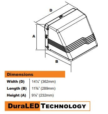 DuraGuard Medium Full Cutoff LED Wall Pack 37W - sold by RelightDepot.com