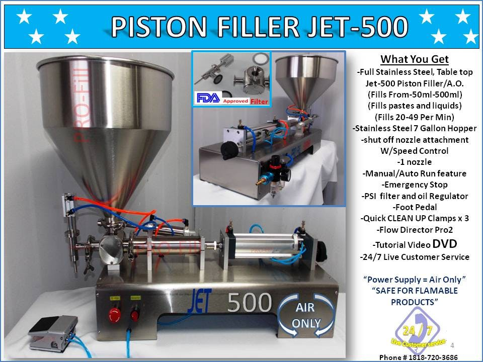 Non-Flammable, Perfume Single Head Piston Filler/ Filling Machine(AIR ONLY) JET-500 Fills Liquid, Paste, Oil, Gel, Peanut Butter Filling machine sold by Pro Fill Equipment
