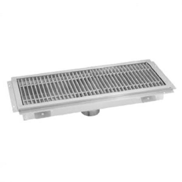 "12"" x 24"" Stainless Floor Trough w/ Stainless Subway Grate"