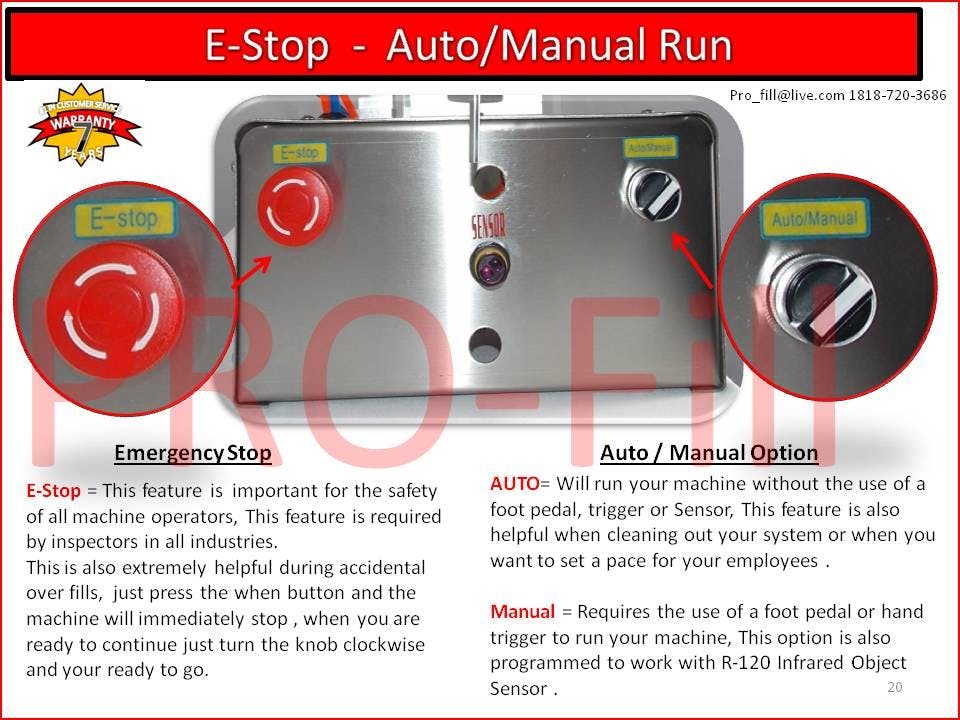 E-Stop (Emergency Use Only) - Jet-2500 Single Head Air & Electric Piston Filler Fills Paste, Liquids, Salsa,Peanut Butter - sold by Pro Fill Equipment