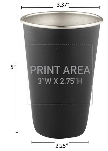 16 OZ. STAINLESS PINT BLACK #88M-07 Beer glass sold by Clearwater Gear