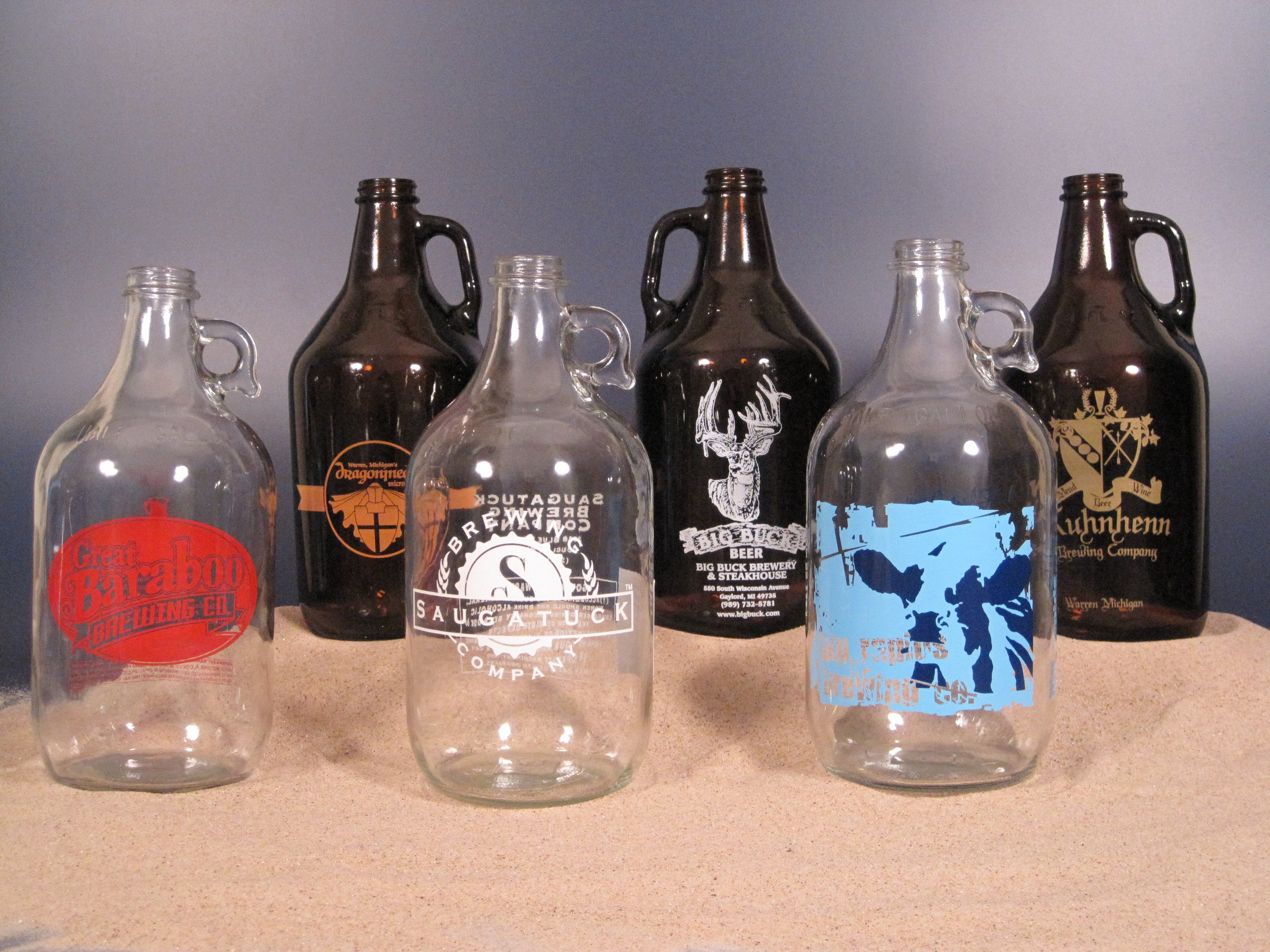 Growlers:  Printed Growler sold by Land & Sea Packaging